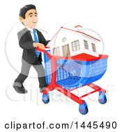 Clipart Of A 3d Business Man Pushing A House In A Shopping Cart On A White Background Royalty Free Illustration