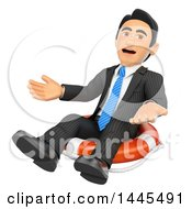 Poster, Art Print Of 3d Bankrupt Business Man Sitting On A Life Buoy On A White Background