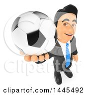 Clipart Of A 3d Business Man Holding Up A Soccer Ball On A White Background Royalty Free Illustration by Texelart