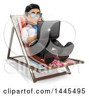Poster, Art Print Of 3d Business Man Sitting In A Beach Chair And Working On A Laptop On A White Background