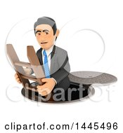 3d Business Man Going Down To The Sewers On A White Background