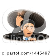 Clipart Of A 3d Business Man Climbing Out The Sewers On A White Background Royalty Free Illustration