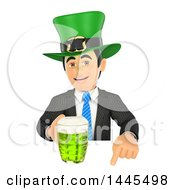 Clipart Of A 3d Business Man Wearing A St Patricks Day Hat And Holding A Beer Over A Sign On A White Background Royalty Free Illustration