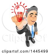 3d Creative Business Man Drawing A Light Bulb On A White Background