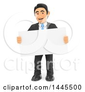Clipart Of A 3d Business Man Holding A Blak Sign On A White Background Royalty Free Illustration