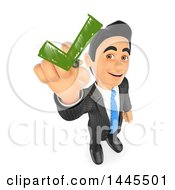 3d Business Man Drawing A Green Check Mark On A White Background