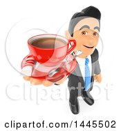 Clipart Of A 3d Business Man Holding Up A Cup Of Coffee On A Saucer On A White Background Royalty Free Illustration