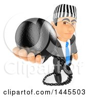 Clipart Of A 3d Business Man Prisoner Holding Up A Ball On A White Background Royalty Free Illustration