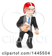 Clipart Of A 3d Business Man Playing American Football On A White Background Royalty Free Illustration