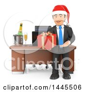 Clipart Of A 3d Business Man Wearing A Christmas Santa Hat And Holding Out A Gift By His Desk On A White Background Royalty Free Illustration