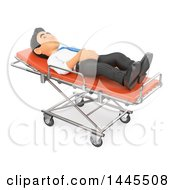 Clipart Of A 3d Business Man On A Stretcher On A White Background Royalty Free Illustration by Texelart