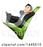 3d Business Man Relaxing On A Check Mark On A White Background