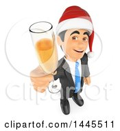 Clipart Of A 3d Business Man Wearing A Christmas Santa Hat And Holding Up A Glass Of Champagne On A White Background Royalty Free Illustration