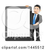 Clipart Of A 3d Business Man Presenting A Giant Tablet Computer With A Blank Screen On A White Background Royalty Free Illustration