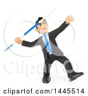 Clipart Of A 3d Business Man Throwing A Javelin On A White Background Royalty Free Illustration