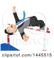Clipart Of A 3d Business Man Jumping Over A Bar On A White Background Royalty Free Illustration