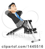 Clipart Of A 3d Business Man Doing Sit Ups On A Bench On A White Background Royalty Free Illustration