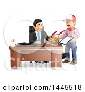 Clipart Of A 3d Business Man Receiving A Delivery On A White Background Royalty Free Illustration