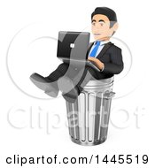 Clipart Of A 3d Business Man Working A Dead End Job Working On A Laptop In A Trash Can On A White Background Royalty Free Illustration by Texelart