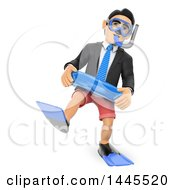 Poster, Art Print Of 3d Business Man In Snorkel Gear On A White Background