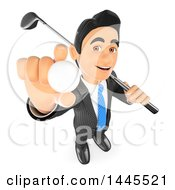 Clipart Of A 3d Business Man With A Golf Club Over His Shoulder Holding Up A Ball On A White Background Royalty Free Illustration