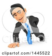 Clipart Of A 3d Business Man Doing One Hand Pushups On A White Background Royalty Free Illustration