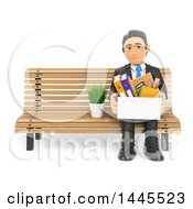 3d Fired Business Man Sitting On A Bench With His Belongings On A White Background