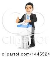 Clipart Of A 3d Business Man Putting A Voters Ballot In A Box On A White Background Royalty Free Illustration
