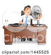 Clipart Of A 3d Flushed And Hot Business Man Sitting With A Fan At His Desk On A White Background Royalty Free Illustration