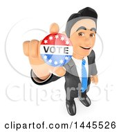 Clipart Of A 3d Business Man Or Politician Holding Up A Vote Badge On A White Background Royalty Free Illustration