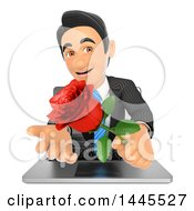 Clipart Of A 3d Business Man Emerging From A Laptop Screen And Holding A Valentine Rose On A White Background Royalty Free Illustration
