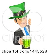 Clipart Of A 3d Business Man Wearing A St Patricks Day Hat And Holding A Beer Around A Sign On A White Background Royalty Free Illustration