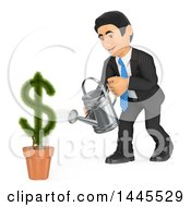 Clipart Of A 3d Business Man Watering A Dollar Currency Symbol Plant On A White Background Royalty Free Illustration