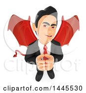 Clipart Of A 3d Devil Business Man Thinking On A White Background Royalty Free Illustration