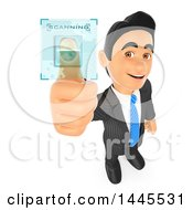 Clipart Of A 3d Business Man Scanning His Fingerprint On A White Background Royalty Free Illustration