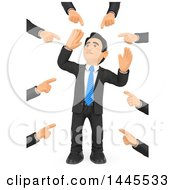 Clipart Of A 3d Business Man Being Pointed At By Many Hands On A White Background Royalty Free Illustration