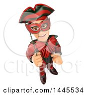 Clipart Of A 3d Masked Carnival Man Giving A Thumb Up On A White Background Royalty Free Illustration