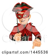 Clipart Of A 3d Masked Carnival Man Pointing Down Over A Sign On A White Background Royalty Free Illustration