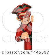 Clipart Of A 3d Masked Carnival Man Looking Around A Sign On A White Background Royalty Free Illustration by Texelart