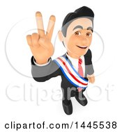 Clipart Of A 3d Male Politician Wearing A Sash And Gesturing Victory On A White Background Royalty Free Illustration by Texelart