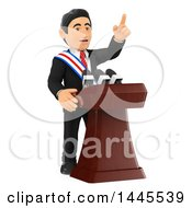 3d Male Politician Wearing A Sash And Giving A Speech On A White Background