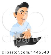 Clipart Of A 3d Male Information Technology Technician Looking Up And Using A Laptop On A White Background Royalty Free Illustration