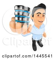 Clipart Of A 3d Male Information Technology Technician Holding A Database On A White Background Royalty Free Illustration