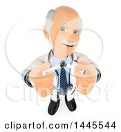 Clipart Of A 3d Senior Caucasian Male Doctor Holding Up Cigarettes On A White Background Royalty Free Illustration by Texelart