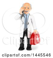 Clipart Of A 3d Senior Caucasian Male Doctor Or Veterinarian Talking On A Cell Phone And Holding A First Aid Kit On A White Background Royalty Free Illustration