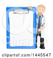 Poster, Art Print Of 3d Senior Caucasian Male Doctor Or Veterinarian Presenting A Giant Clipboard On A White Background