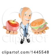 Clipart Of A 3d Senior Caucasian Male Doctor Or Nutritionist Holding Up An Apple And Cheeseburger On A White Background Royalty Free Illustration