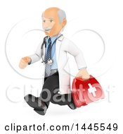 Poster, Art Print Of 3d Senior Caucasian Male Doctor Or Veterinarian Running With A First Aid Kit On A White Background