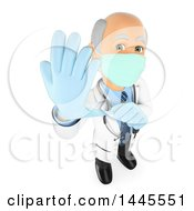 3d Senior Caucasian Male Surgeon Doctor Or Veterinarian Putting On Gloves On A White Background