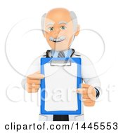 Poster, Art Print Of 3d Senior Caucasian Male Doctor Or Veterinarian Holding A Clipboard On A White Background